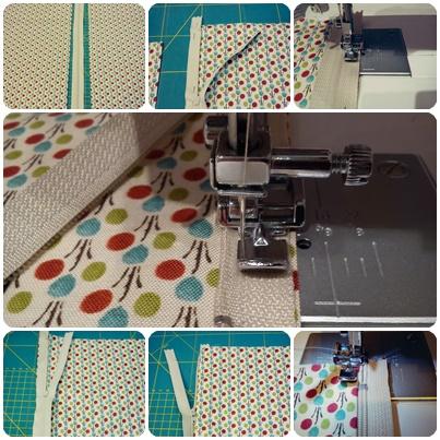 Cojín con máquina de coser