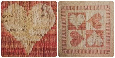 """Labores realizadas en base al libro """"Quilts con el diseño Log Cabin""""."""